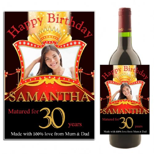 Personalised Happy Birthday Wine / Champagne Bottle PHOTO Label N7